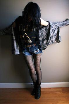 ripped denim shorts, vintage pink floyd shirt, comfy flannel & boots.