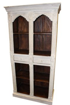 Antique White Dark Brown Indian Style Arch Bookcase Solid Teak Wood Two Drawers Vintage Bookshelf Storage Cabinet Cool Bookshelves, Bookshelf Storage, Bookshelf Design, Bookshelf Ideas, Vintage Bookshelf, Antique Bookcase, How To Antique Wood, Vintage Wood, Vintage Furniture