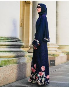 A romantic, feminine piece, such as our Rosa Antico Blue Lace Abaya is perfect for a head-turning ensemble. Abaya Designs Latest, Blue Abaya, Islamic Clothing, Ethnic Print, Antique Roses, Abaya Fashion, Pink Sequin, Maternity Wear, Party Fashion