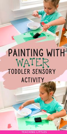 A simple set-up, fun, water play, sensory activity for indoors or outdoors. Keep your toddler busy and entertained by painting with water! This activity is easy and quick to set up and the only mess that's made is some splashes of water. Toddler Painting Activities, Water Play Activities, Sensory Activities For Preschoolers, Babysitting Activities, Indoor Activities For Toddlers, Nursery Activities, Infant Activities, Toddler Daycare, Toddler Play