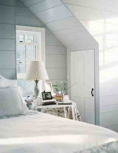 inspiration: pale blue walls, white bedding, hints of chocolate Light Gray Bedroom, White Bedroom, Serene Bedroom, Blue Bedrooms, Pretty Bedroom, Bedroom Green, All White Room, White Rooms, Cottage Shabby Chic