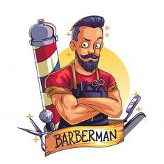 Barber Poster, Barber Logo, Barber Man, Beard Barber, Barber Shop Interior, Barber Shop Decor, Hairdresser Logo, Barber Tattoo, Handsome Bearded Men