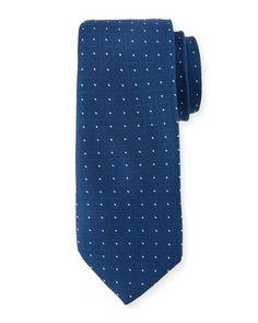 Grid Print Silk Tie