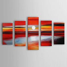 Pintado a mano pintura al óleo del paisaje del mar se extendía Frame Set de 5 1306-LS0315 – EUR € 139.99