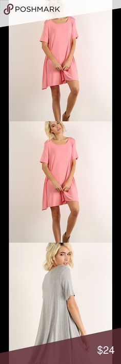"Coral Crew Neck Dress T-shirt type material- rayon spandex blend. Relaxed fit. True to size. Model is 5'9"" 32/24/34 and is wearing a small. Made in the 🇺🇸. Dresses Mini"