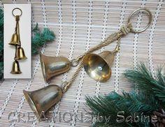Brass Christmas Bells Door Wall Hanger Ringer Holiday Decor