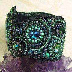 Elven Woodlands Bead Embroidered Bracelet/Cuff by 4uidzne on Etsy