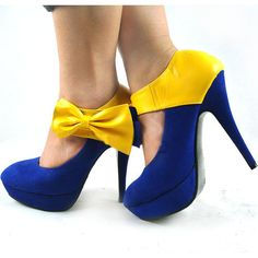 Blue and gold heels