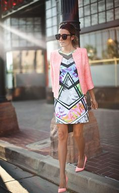 pink jacket and abstract dress