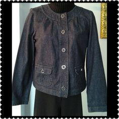 Charter Club Jean Jacket Jean jacket. Beautiful covered buttons. Front pockets. Never worn. Button tags still attached. Charter Club Jackets & Coats Jean Jackets