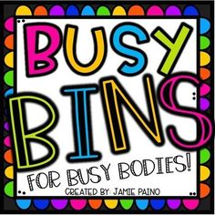 """""""Busy Bins"""" are a way to incorporate play based learning, social interaction, hands-on learning, problem solving and much more into your daily schedule. Busy Bins are filled with resources and activities that allow students to practice standards and exten Play Based Learning, Hands On Learning, First Grade Lessons, Math Lessons, Classroom Management, Classroom Organization, Classroom Ideas, First Day Of School Activities, Elementary Teacher"""