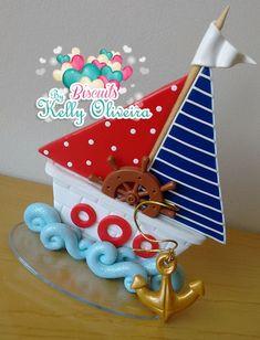 Topo de Bolo Barco Marinheiro