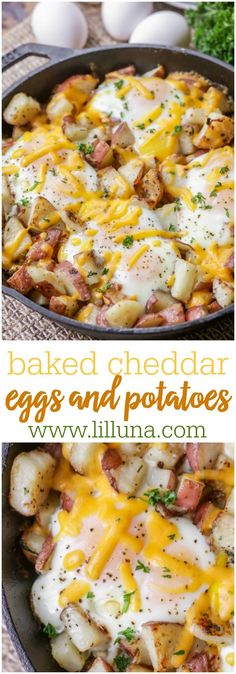 Baked Cheddar Eggs and Potatoes - the best way to make breakfast! It's full of flavor, cheese and all your favorite breakfast foods.