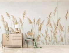 Fresh Handpainted Simple Reed Wallpaper, Autumn Yellow Reed Wall Mural, Living Room or Dinning Room Wallpaper Home Decor Dinning Room Wallpaper, Wallpaper Wall, Wallpaper Paste, Paper Wallpaper, Self Adhesive Wallpaper, Custom Wallpaper, Adhesive Vinyl, Wallpaper Doodle, Cleaning Walls