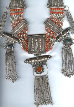 Coral , silver and carnelian Yemen necklace