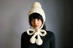 Tuptim Knit Pom Pom Hat in Winter White by nessavendettaknits, $64.00. Ok... never been in mad love with a hat before, but this one is beyond fun!