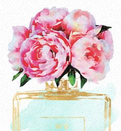 Fashion Perfume with Peonies orchids watercolor 24X36 inches
