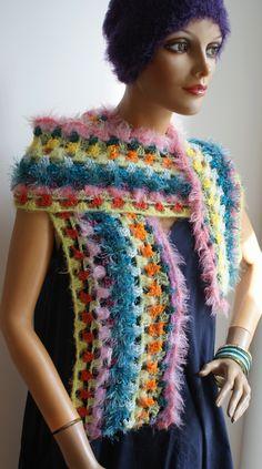 crochet scarf, cuddly soft Shawls, Crochet Necklace, Scarves, Colours, Handmade, Fashion, Ponchos, Scarf Crochet, Handarbeit