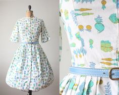 1950s dress  vintage 1950's garden dress by Thrush on Etsy
