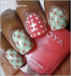 Pink, White & Mint Polk Dot Nail Pattern