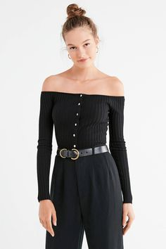 UO Brigitte Button-Down Off-The-Shoulder Sweater | Urban Outfitters