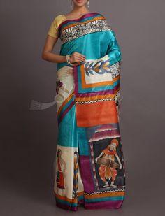 Sakhi Folk Dance And Music Hand Painted Pure #KosaSilkSaree
