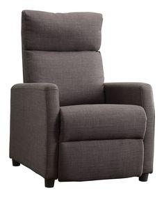 HomeBelle Dark Gray Linen Reclining Chair   zulily