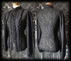 Gothic Black Damask Pattern VICTORIAN GOVERNESS High Neck Blouse 16 18 Steampunk - £29.00