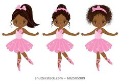 Illustration of Vector cute little African American ballerinas with various hairstyles. Vector ballerinas in pink tutu dresses. African American ballerinas vector illustration vector art, clipart and stock vectors. Clipart, Ballerina Birthday, Ballerina Barbie, Girl Birthday, Birthday Ideas, Black Ballerina, Illustration, Pink Tutu, Cartoon Kids