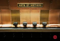 Empty seats at Arts et Metiers, Metro station, Paris Paris Metro, Metro Station, Public Transport, Textures Patterns, Chair Design, Transportation, Wall Art, Architecture, Gallery