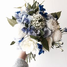 Beautiful blue and white flower bouquet My Flower, Beautiful Flowers, Wedding Bouquets, Wedding Flowers, Wedding Blue, Planting Flowers, Floral Arrangements, Bloom, Inspiration