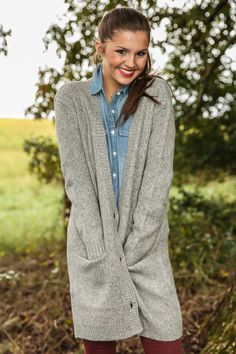 BB DAKOTA: Good For The Soul Cardigan-Heather Grey - New Today | The Red Dress Boutique