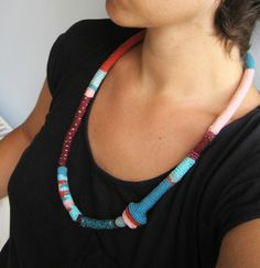 https://flic.kr/p/cBJm5s | Teal-turquoise-rust pink tribal long tribal necklace