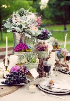 This would be pretty for the food table decor. Can be inspiration for engagement as well as wedding.