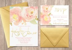 Blush Peony Watercolor Wedding Invitation Set with Gold Foil - PRINTABLE - Digital Files