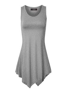 81ee170bf2 MBJ Womens Sleeveless Comfy Tunic Tank Top with Various Hem - Made in USA  at Amazon Women s Clothing store