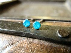 Sterling silver dot post earrings turquoise (12.00 USD) by AutumnEquinox