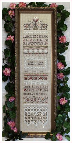 The Victoria Sampler - Love is Patient Sampler. With variegated threads, gorgeous
