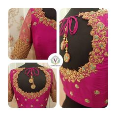 Bridal blouse with handmade tassels. Stunning pink color designer blouse with floret lata design hand embroidery gold thread work on neckline and sleeves. 02 August 2019