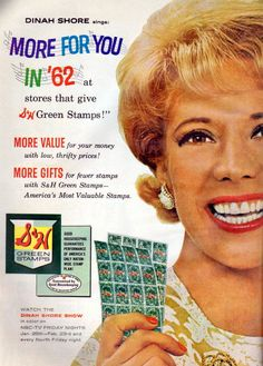 S Green Stamps - 1962 Dinah Shore. My Mom collected these stamps great memories!