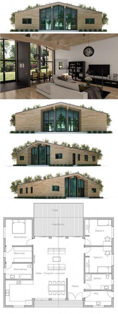 Container House - House Plan - really like this very efficient use of space - no endless narrow hallways! - Who Else Wants Simple Step-By-Step Plans To Design And Build A Container Home From Scratch? Building A Container Home, Container Buildings, Storage Container Homes, Cargo Container, Container Store, Bungalows, House Floor Plans, Modern Bungalow House Plans, Round House Plans