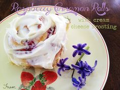 Raspberry Cinnamon Rolls with Cream Cheese Frosting