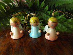 Miniature Wooden Angels Made In Spain Hand by GoldenBeeAntiques