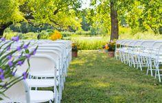 Grassy aisle leading to a ceremony under the cottonwoods...idyllic Kansas wedding. :) #prairiegardenwedding #dyckarboretum