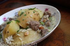 Serves 4 Bolivian peanut soup is a delightful way to serve up good old fashioned meat and potatoes. Cook this soup gentle and slow. If you do, the beef will be moist and tender and the potatoes wil...