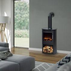 Wood Burner Stove, Wood Burner Fireplace, Log Burner, Home Living Room, Living Room Designs, Living Room Decor, Dining Room, Electric Fires, Electric Stove