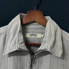 Japanese Brand Kansai Jeans Designer Zipper Striped Shirt | Grailed