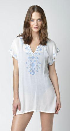 Lisa Curran Swim - Jasmine Tunic in White/Periwinkle