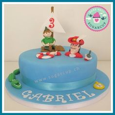 Peter Pan and Captain Hook birthday cake Captain Hook, Peter Pan, Fondant, Birthday Cake, Cakes, Baking, Desserts, Food, Tailgate Desserts