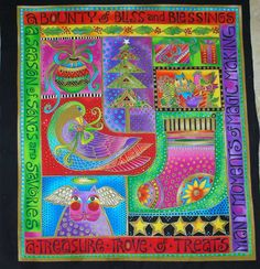 """Gorgeous Clothworks Christmas""""Bountiful Blessings""""brightly colored panel designed by Laurel Burch. a bounty of bliss & blessings. Panel size to outside borders approx. I don't smell any odor on it and would never buy it if I did. Christmas Fabric, Christmas Art, Christmas Ideas, Christmas Decorations, The Colour Of Magic, Laurel Burch Fabric, Stocking Tree, Z Arts, Mixed Media Painting"""